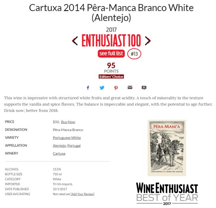 Cartuxa 2014 Pêra-Manca Branco White (Alentejo)